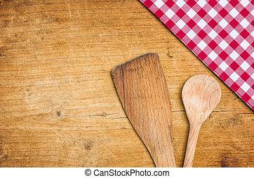 cucchiaio legno, checkered tovaglia, fondo