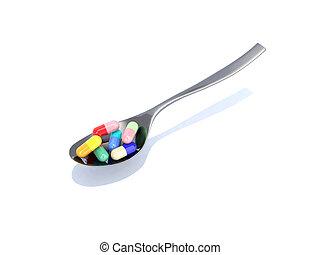 cucchiaio, pillole