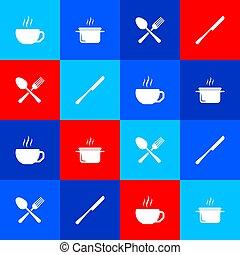 cucchiaio, set, cottura, forchetta, coltello, tazza, icon., vaso, caffè, attraversato, vettore