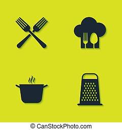 cucchiaio, set, cottura, grattugia, forchetta, cappello, vaso, icon., vettore, attraversato, chef
