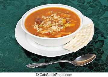 cucchiaio zuppa, orzo, manzo