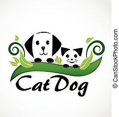 cuccioli, gatto, cane, logotipo