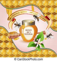 cucharón madera miel, tarro, cerrado
