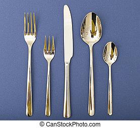 cuchara, conjunto, tenedor, cubiertos, cuchillo