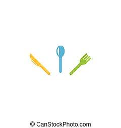 cuchara, logotipo, restaurante, tenedor