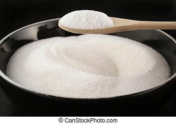 cuchara, tazón, azúcar