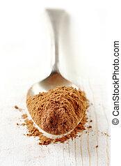 cucharada, cacao, polvo