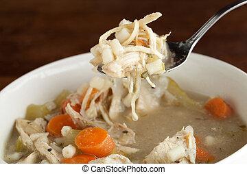 cucharada, sopa, pollo