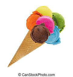 cucharadas, cono, helado