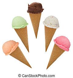 cucharadas, conos, helado