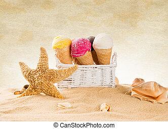 cucharadas, playa., arenoso, helado