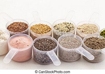 cucharadas, polvos, semillas
