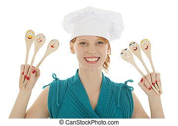 cucharas, divertido, cocinero, mujer