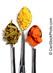 cucharas, vegetales, blanco, tres