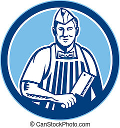 cuchilla de carnicero, círculo, carne, cuchillo de carnicero