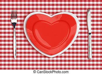 cuchillo, corazón, placa, y, tenedor, en, comprobado, mantel