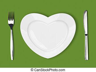cuchillo, placa blanca, y, tenedor, en, fondo verde