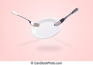 cuchillo, tenedor, levitar, placa