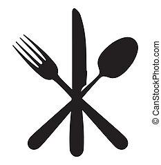 cuchillo, tenedor, y, cuchara