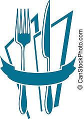 cuchillo, tenedor, y, servilleta, icono, en, azul