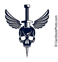cuchillo, vector, clásico, logotipo, cresta, pandilla, estilo, señal, vendimia, matado, blanco, criminalidad, chamarra, aislado, daga, brazos, alas, emblema, cráneo, tattoo., o