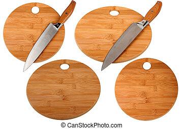 cuchillo, y, cocina, tabla