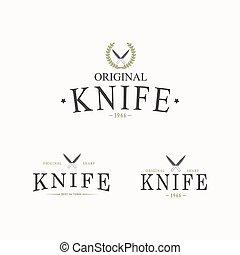 cuchillos, logotipo, conjunto, vector, fondo., blanco