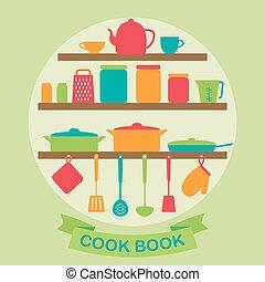 cucina, attrezzi, silhouette, vettore