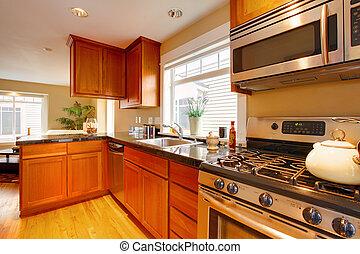 cucina, ciliegia, moderno, apparecchi, inossidabile