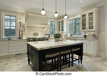 cucina, con, granito, countertops