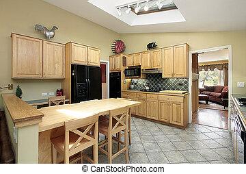 cucina, con, legno, cabinetry