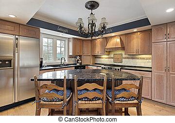 cucina, con, marmo, countertops