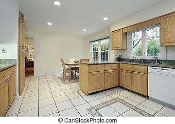 cucina, con, pavimento, disegno