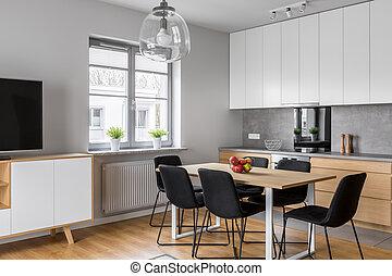 Sala da pranzo, cucina. Luce, stanza moderna, cucina,... immagine d ...