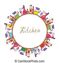 cucina, cornice, con, otri, bottiglie, cottura, strumenti