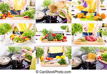 cucina, cottura, prodotti, mani umane