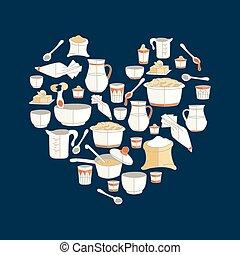 cucina, cuore, vettore, illustrazione, utensili