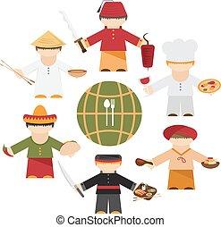 cucina, differente, appartamento, chef, nazioni, disegno, mondo