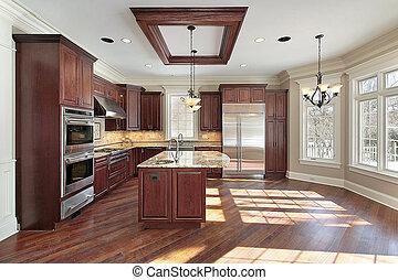 cucina, e, isola, in, nuovo, costruzione, casa