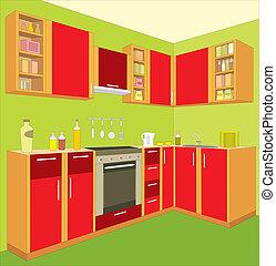 cucina, furniture., interior.