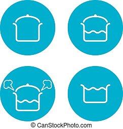 cucina, icone, quattro, pezzi