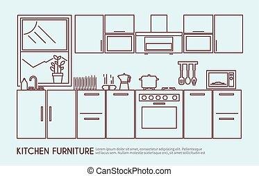cucina, illustrazione, mobilia