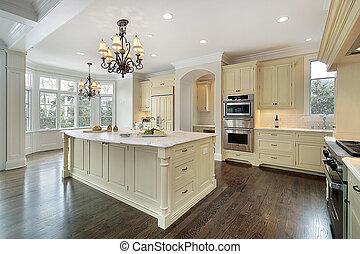 cucina, in, nuovo, costruzione, casa