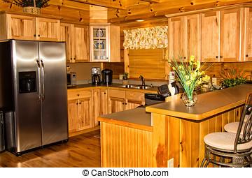 cucina, in, uno, capanna di tronchi