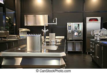cucina, industriale, nuovo