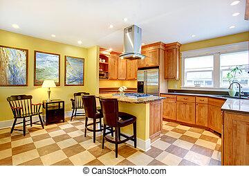 Pareti, giallo, cucina. Pareti, remodeled, condominio,... fotografia ...
