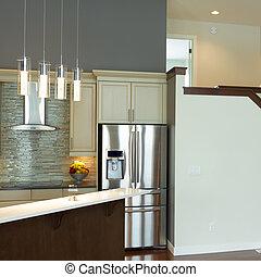 cucina, interno, moderno, disegno