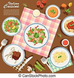 cucina, italiano, tavola