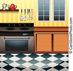 cucina, microonda, contatore