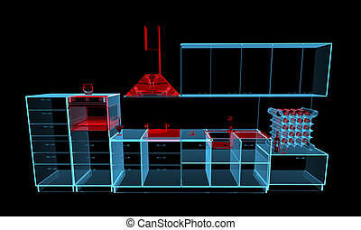 Xray Blu Cucina 3d Transparent